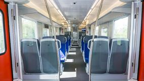 Empty wagon. inside of train. View transport Royalty Free Stock Photos