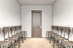 Empty Waiting Room Chairs And Office Door stock photography