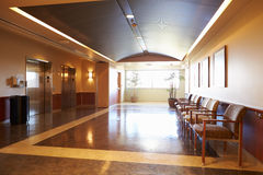 Empty Waiting Room In Modern Hospital Stock Photo