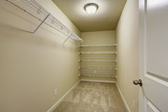 Empty walk-in closet Royalty Free Stock Images