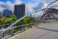 Walk way on The Helix bridge in Singapore Stock Photography