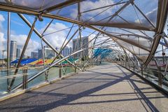 Walk way on The Helix bridge in Singapore Royalty Free Stock Image