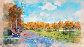 Empty walkway in autumn park watercolor sketch royalty free illustration