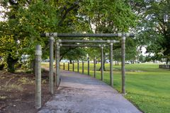 Gateway through Kuirau park in Rotorua, New Zealand royalty free stock image