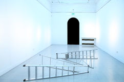 Empty wall art gallery room Stock Photo