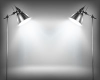 Empty wall for exhibit. And lamps. Vector illustration Stock Image