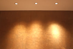 Empty wall for exhibit. Lamp on the wall background Royalty Free Stock Image