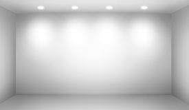 Empty wall. In a room with lights Royalty Free Stock Photo