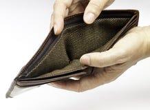 Empty wallet. Representing the poor economy Stock Image