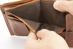 Empty Wallet. Without any money in it Royalty Free Stock Photo