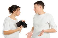 Empty wallet. Woman displaying her mans empty wallet Stock Photo