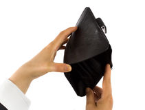 Empty wallet. Empty black wallet on white background Royalty Free Stock Photos