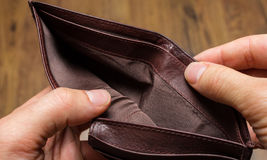 Empty wallet. An empty brown leather wallet Royalty Free Stock Photography