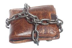 Empty wallet in chain. Poor economy. End of personal spending. Poor economy represented by empty wallet in chain isolated on white Royalty Free Stock Photography