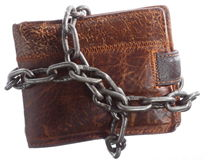 Empty wallet in chain - poor economy, end of spending. End of personal spending. Poor economy represented by empty wallet in chain isolated on white Stock Image
