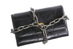 Empty wallet in chain - poor economy, end of spending Royalty Free Stock Images