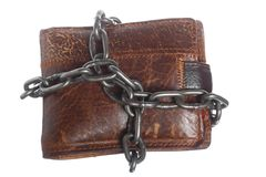 Empty wallet in chain - poor economy, end of spending. End of personal spending. Poor economy represented by empty wallet in chain isolated on white Stock Images