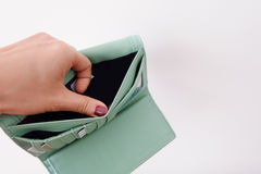 Empty wallet. Empty green wallet without money Royalty Free Stock Image
