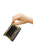 Empty wallet with hand isolated on white Stock Photography