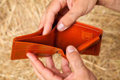 Empty wallet in hands Stock Photography