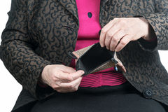 Empty wallet in hands of old woman Stock Photography