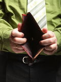 Empty wallet in male hands - poor economy Stock Image