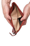 Empty wallet open in hands - bankrupt Royalty Free Stock Photos