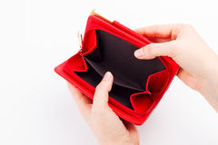Empty wallet on white Royalty Free Stock Photography