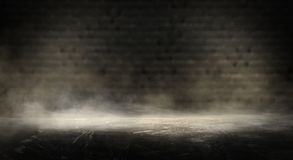 Background of an empty dark room. Empty walls, neon light, smoke, glow. Empty walls, neon light, smoke, glow royalty free stock photography