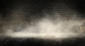 Background of an empty dark room. Empty walls, neon light, smoke, glow. Empty walls, neon light, smoke, glow stock photography