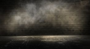 Background of an empty dark room. Empty walls, neon light, smoke, glow. Empty walls, neon light, smoke, glow stock photo