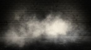 Background of an empty dark room. Empty walls, neon light, smoke, glow. Empty walls, neon light, smoke, glow royalty free stock image