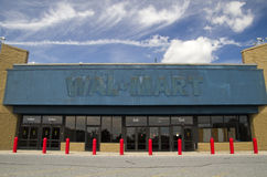 Empty WalMart storefront. Closed WalMart storefront stands as symbol for what the future may hold if the giant chain continues to have poor employee relations royalty free stock images
