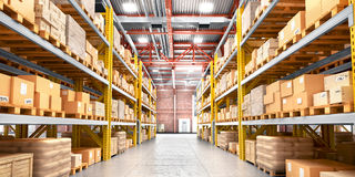 Free Empty Warehouse Full Of Cargo. Stock Photo - 92295830