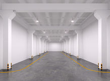 Empty warehouse interior. 3d Illustration Stock Photos