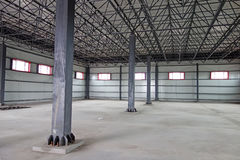 Empty warehouse. Large modern  empty warehouse interior Royalty Free Stock Image