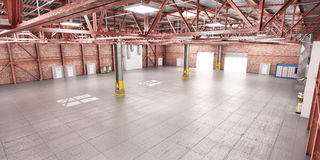 Empty warehouse. Metal structure. Royalty Free Stock Photos