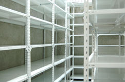 Empty warehouse, storage  racks Royalty Free Stock Image
