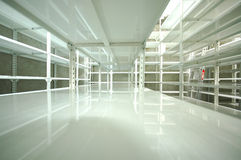 Empty warehouse, storage  racks Royalty Free Stock Images