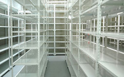 Empty warehouse, storage  racks Stock Image