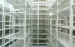 Empty warehouse, storage  racks Royalty Free Stock Photography