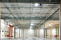 Empty warehouse under construction Royalty Free Stock Images