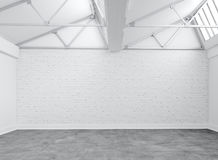 Empty Warehouse. White bricks and concrete ground  in empty warehouse Stock Photos