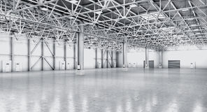 Empty warehouse in white color. royalty free illustration