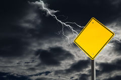 Empty Warning Sign Against Cloudy and Thunderous Sky Stock Photography