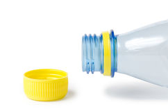 Empty water bottle  without a cover. Blue color Stock Images