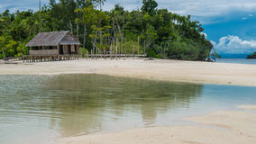 Empty Water Hut on Sand Bank between Kri Island and Monsuar. Raja Ampat, Indonesia, West Papua.  Stock Photo
