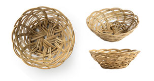 Empty weave wicker basket Stock Images
