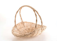 Empty  weave wicker basket. On white background Stock Photo