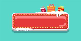 Christmas Web Button Covered with Snow Vector Icon. Empty web button covered with snow, topped by gift boxes in wrapped paper, start of New Year concept. Website Royalty Free Stock Image